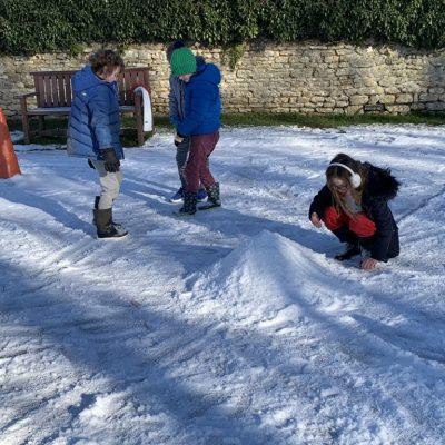 Building a snow mountain