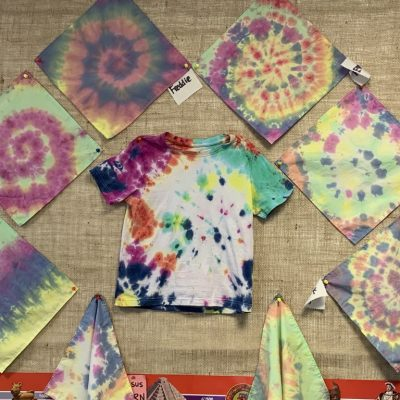 We made tie dye handkerchiefs and T shirt